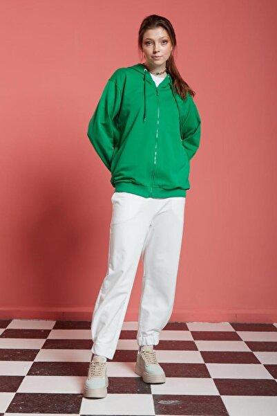 Mizalle Basic Fermuarlı Yeşil Sweatshirt