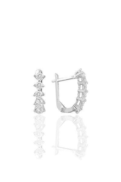 Söğütlü Silver Gümüş Rodyumlu Zirkon Taşlı Beştaş J Küpe