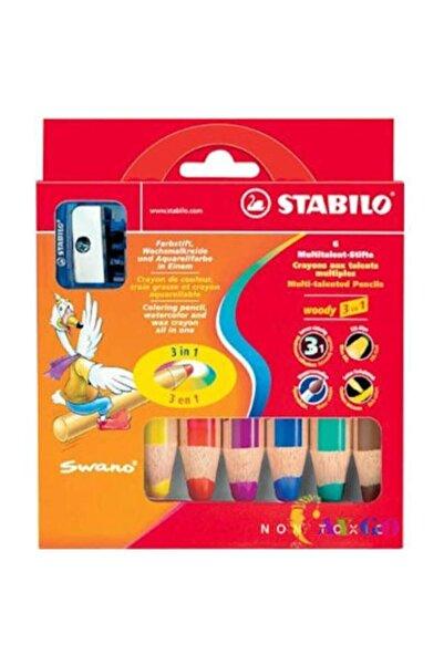Stabilo Woody 3in1 6 Renk Kalemtıraş Hediyeli Askılı Paket