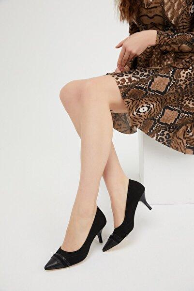 Fox Shoes Siyah Süet Kalın Topuklu Kadın Ayakkabı K654003202