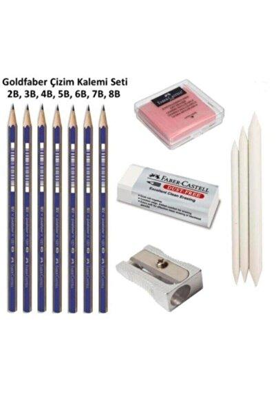 Faber Castell Goldfaber Çizim Seti 2b 3b 4b 5b 6b 7b 8b Dereceli Kalemler 3'lü Dağıtma Kalem,kalemtraş,hamur Silgi
