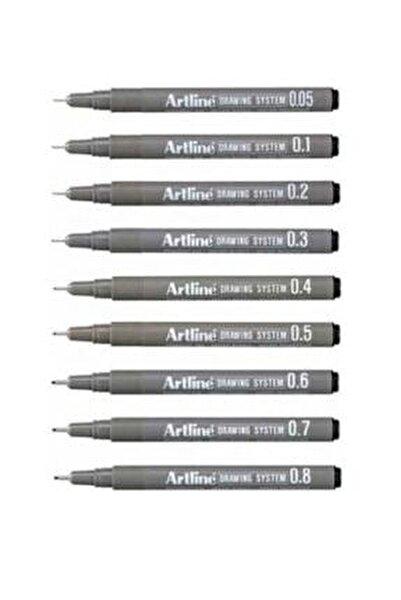 Drawing System Teknik Çizim Kalemi 9'li Tam Set -1