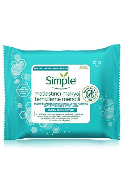 Simple Daily Skin Detox Yağlı/Karma Ciltler İçin Matlaştırıcı Makyaj Temizleme Mendili 25'li