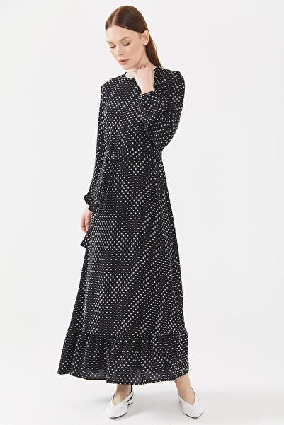 Sitare Kadın Siyah Etek Altı Fırfırlı Elbise 21ynewel2047-1