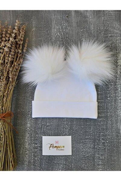 pempem bandana Kız Bebek Beyaz Penye Bere