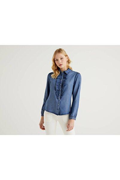 United Colors of Benetton Kadın Mavi Fırfırlı   Gömlek