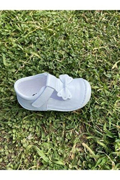 Kız Bebek Beyaz Deri Ortopedik Ilk Adım Ayakkabısı