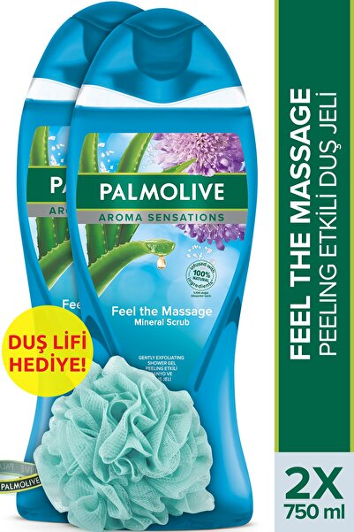 Palmolive Aroma Sensations Feel The Massage Cilt Yenileyici Duş Jeli 2 x 750 ml + Duş Lifi Hediye