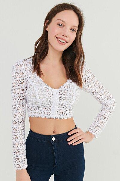 Penti Kadın Beyaz Lace Bluz