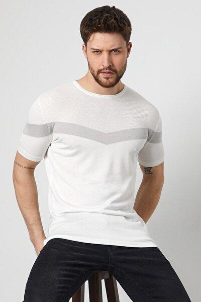 Enuygunenmoda Erkek Slim Fit Pamuklu T-shirt Beyaz