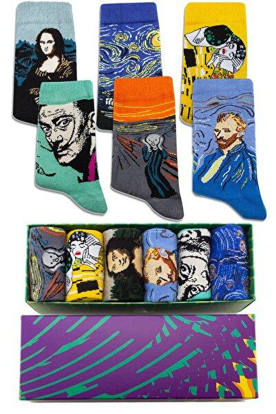 Socksarmy Sanat Tabloları Desenli 6 'lı Kutulu Çorap Seti