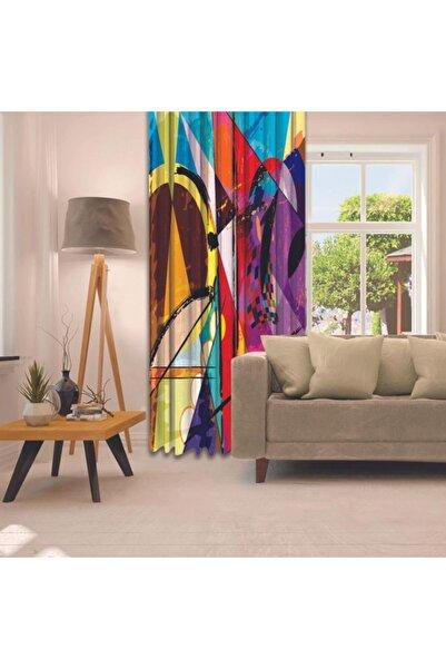 Henge Home Baskılı Tekli Fon Perde Yağlı Boya Etkili Renkli Sürralist Desenli