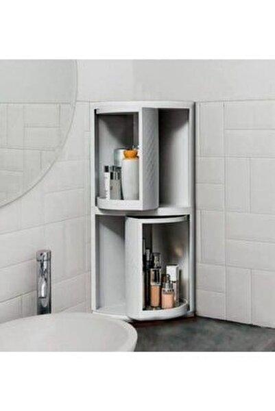 Trend Banyo Ve Mutfak Dolabı Yeni Nesil 360 Derece Dönerli Çok Amaçlı 2 Raflı Beyaz Köşe Dolap
