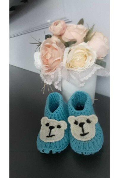SYNOPE El Örgüsü Panduf Bebek Patiği Mavi Ayılı Model 25-26 Numara