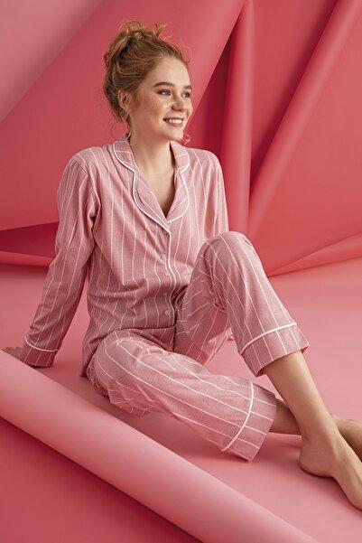 FREZYA Pembe Pamuk Penye Çizgili Kadın Pijama Takımı