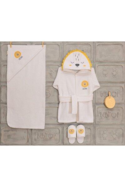 Bebitof Unisex Bebek Sarı Aslan Motifli Bornoz Takımı