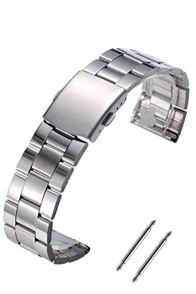 Trendburada Huawei Watch Gt Gt2 Gt2e 46mm Saat Uyumlu 22mm Gümüş Renk Paslanmaz Çelik Metal Saat Kordonu