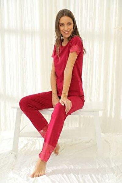 Kadın Bordo Kısa Kollu Dantelli Pamuklu Likralı Pijama Takımı