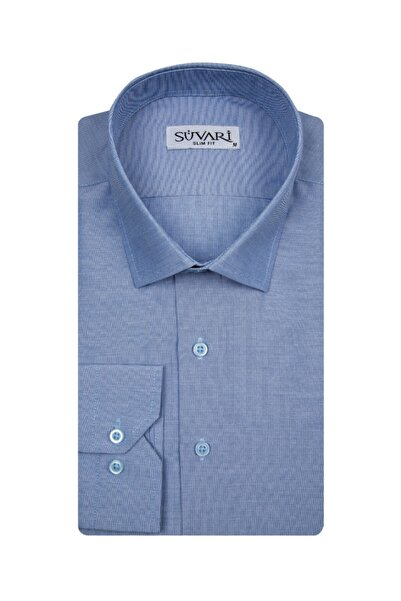 SÜVARİ Slim Fit Mavi Erkek Düz Gömlek