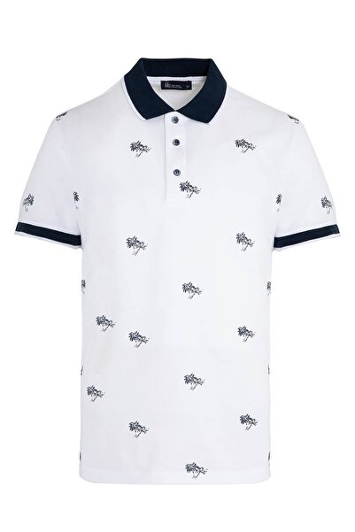 Hatemoğlu Erkek Beyaz Baskılı Polo Yaka Tişört