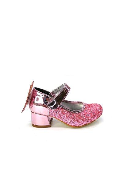 Azra Kız Çocuk Pembe Bilekten Bantlı Simli Topuklu Abiye Ayakkabı