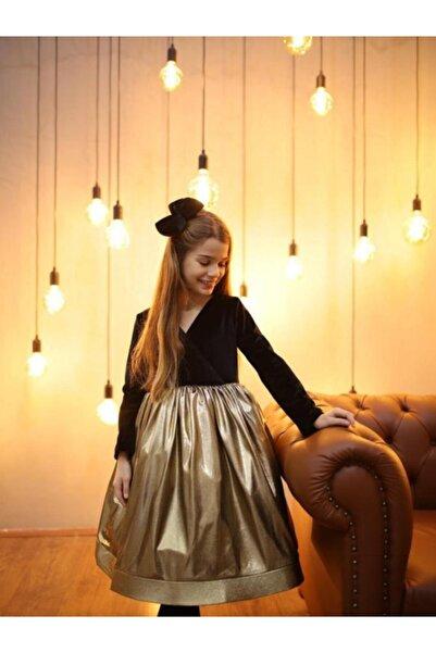 Hilal Akıncı Kids Kız Çocuk Üstü Kadife Parçalı Altın Parlak Tokalı Abiye Elbise H0503