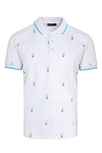 Hatemoğlu Erkek Beyaz Baskılı Polo Yaka T-shirt