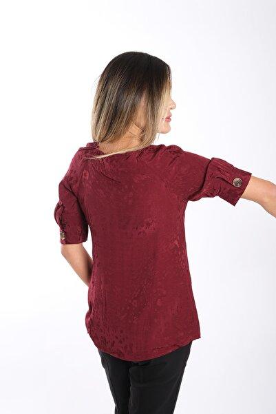 Blues Outlet Kadın Bordo Kendinden Desenli Gömlek Bluz