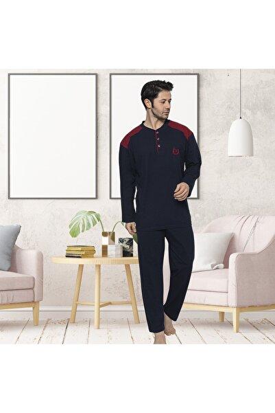Pijamanya Erkek Lacivert Büyük Beden Yakası Düğmeli Pijama Takımı