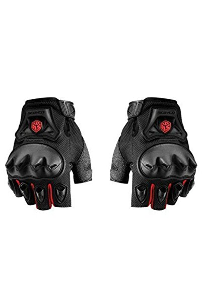 Scoyco Mc29 Korumalı Kesik Motosiklet Eldiveni Kırmızı- Sıyah