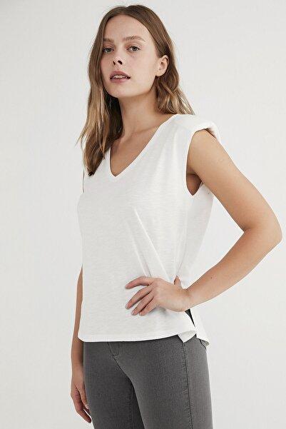 Penti Kadın  Beyaz Shoulder Padded Günlük Tişört