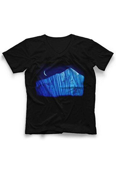 TisortFabrikasi Unisex Siyah  Everest   V Yaka T-shirt Dcdsg69