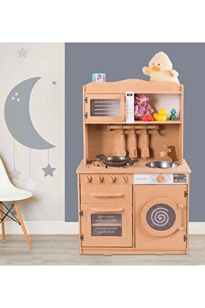 MONTESEV Oyuncak Evi Çocuk Bebek Odası Mutfak Oyun Seti Oyuncak Kutusu Dolabı Dolap Ahşap Montessori