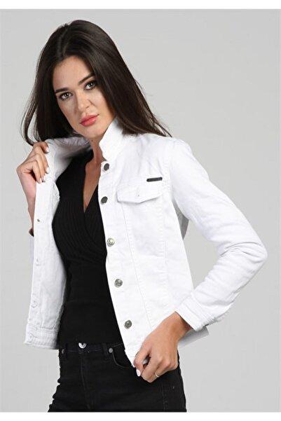 eGs Kadın Beyaz Stil Kot Ceket