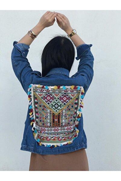 Vanessam Butik Kadın  Özel Tasarım Nakışlı Kot Ceket