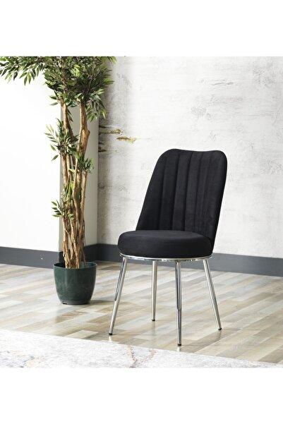 AVVİO Gold Sandalye- Yemek Masası Sandalyesi - Mutfak Masası Sandalyesi Siyah Renk- Metal Krom Ayak