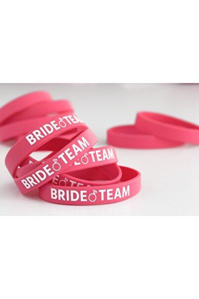 The Bride Pack Bride Team Baskı Detaylı Silikon Nedime Bileklik