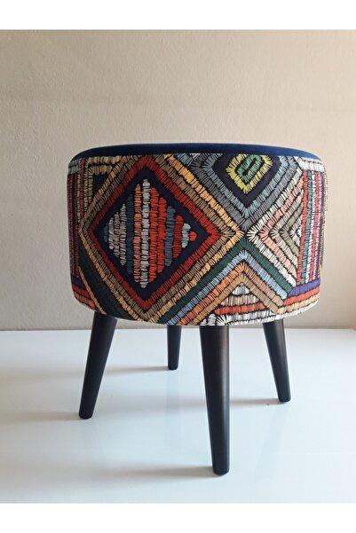 ALBATROS Gürgen Retro Ahşap Ayaklı Dekoratif Etnik Üst Lacivert Desenli Silindir Puf Bench Koltuk Sandalye