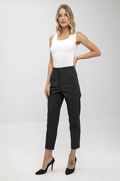 KAROL Kadın Yüksek Bel Havuç Pantolon - Siyah
