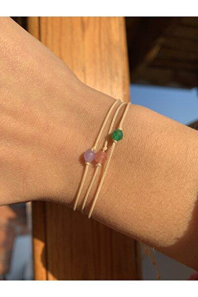 Dibati Accessories Doğal Kuvars Taşı Renkli 3 Adet Şans Bilekliği