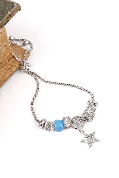 Marjin Kadın Gümüş Renkli Zirkon Taşlı Yıldız Figürlü Asansörlü Bileklikgümüş