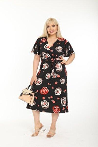 Kadın Kırmızı Çiçek Desenli Kruvaze Yaka Büyük Beden Elbise