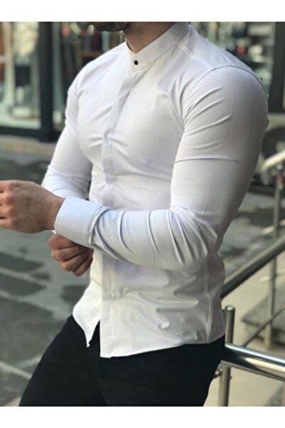 Moon Fashion Hakim Yaka Likralı Gömlek