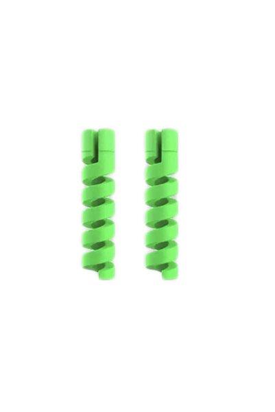 OMAC Micro Usb - Type C - Iphone Lightning Kablo Spiral Kablo Koruyucu Yeşil 2 Adet