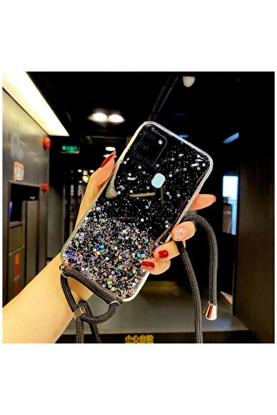 Dara Aksesuar Samsung Galaxy A21s Kılıf Zebana Simli Askılı Silikon Kılıf Siyah