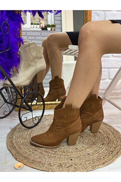 Öncerler Ayakkabı Kadın Taba Süet Kovboy Bot