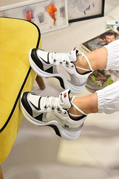 Twingo Kadın Beyaz Gümüş Bağcıklı Spor Ayakkabı