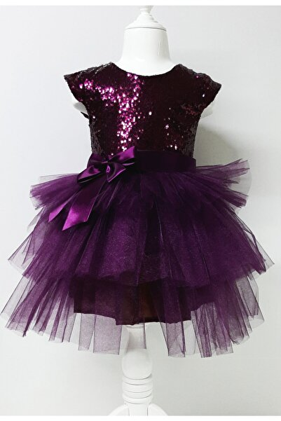 Durumini Kız Çocuk Mürdüm Tüllü Pul Payetli Parti Elbisesi