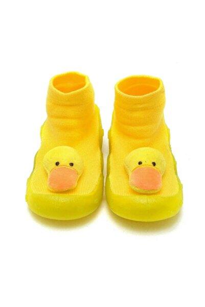 First Step Sarı 3 Boyutlu Ördek Figürlü Altı Kaymaz Silikon Çocuk Panduf Ayakkabı C-26-1