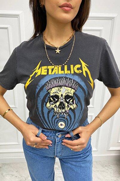 Eka Metallica Baskılı Yıkamalı T-shirt 0709-1319
